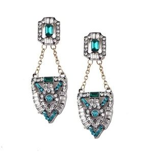 Deco Antique Inspired Emerald Earrings